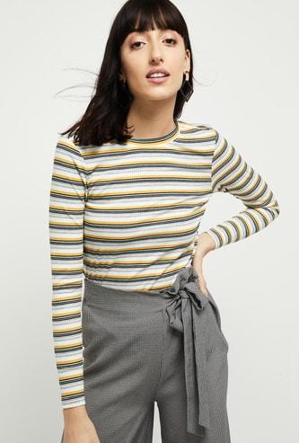 MAX Striped Round Neck T-shirt