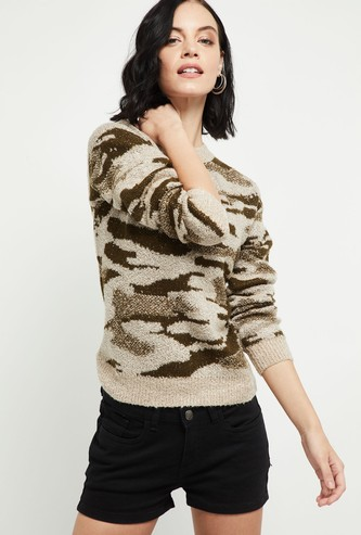 MAX Jacquard Pattern Round Neck Sweater
