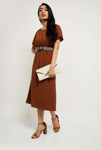 MAX Textured Midi Dress with Detachable Belt