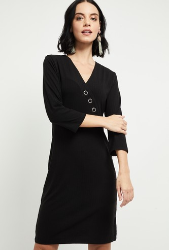 MAX Ribbed Sheath Dress with Surplice Neck