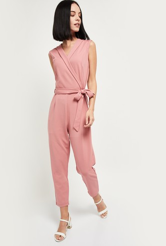 MAX Surplice Neck Cropped Jumpsuit
