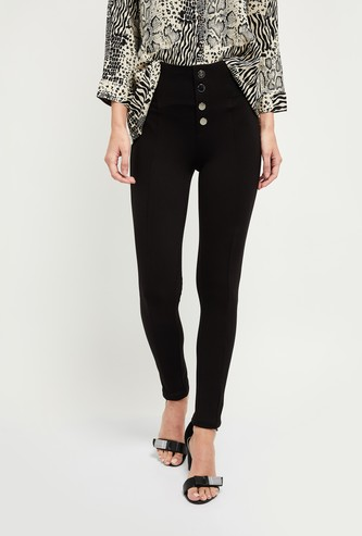 MAX Solid Skinny Fit High-Waist Treggings