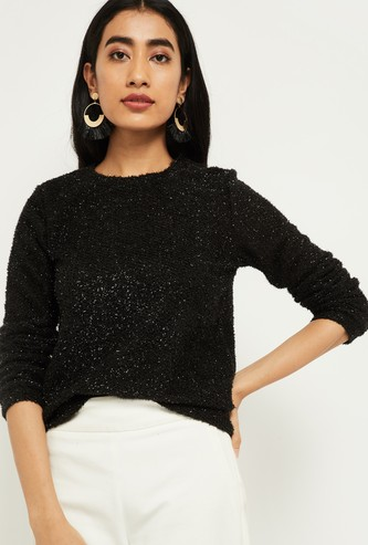 MAX Textured Full Sleeves Knit Top