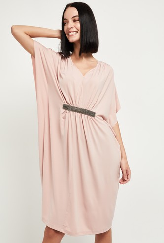 MAX Solid V-neck Sheath Dress with Kaftan Sleeves