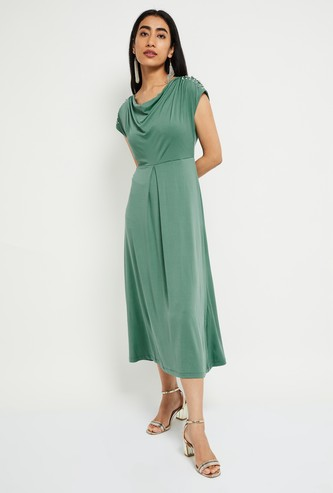 MAX Solid Midi Dress with Cowl Neck