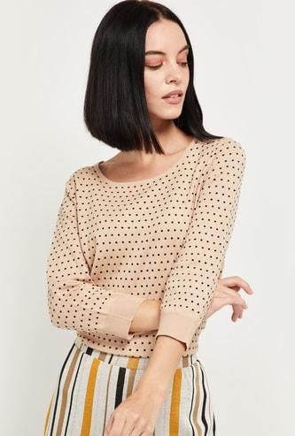 MAX Polka Dot Pattern Round Neck Pullover