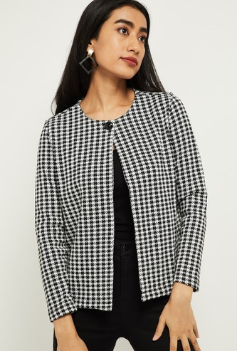 MAX Herringbone Pattern Open-Front Jacket