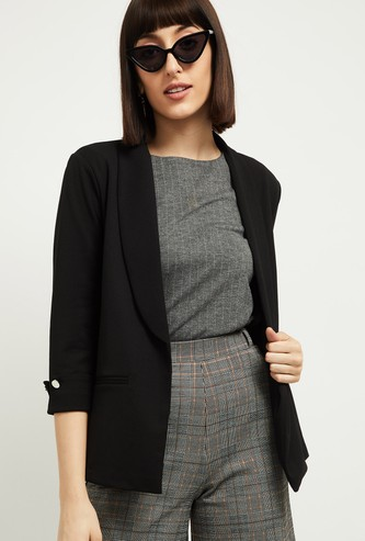 MAX Women Solid Open-Front Blazer