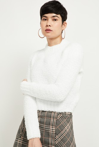 MAX Solid Fuzzy Round Neck Sweater