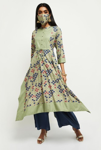 MAX Printed Three-quarter Sleeves Kurta with Mask
