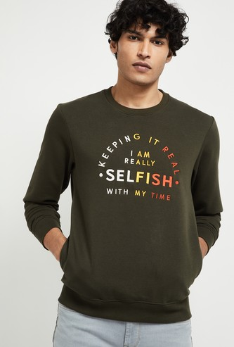 MAX Typographic Print Sweatshirt with Insert Pockets