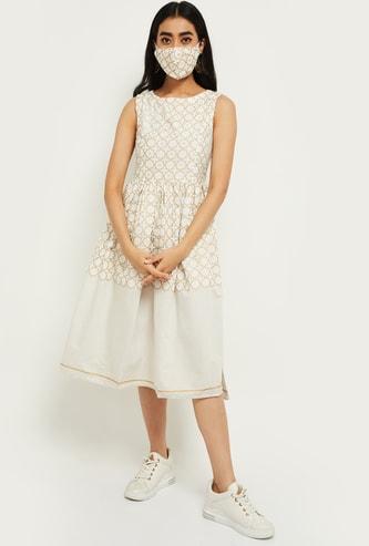 MAX Printed Sleeveless Midi Dress with Matching Mask