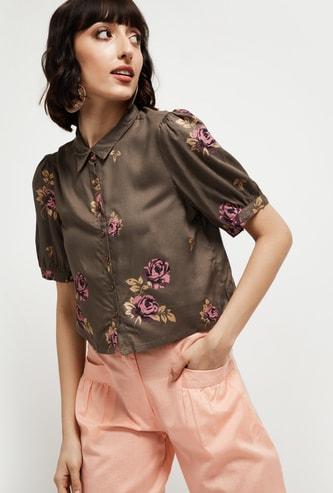MAX Floral Print Short Sleeves Casual Shirt
