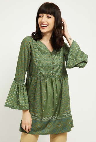 MAX Women Printed V-neck Tunic with Bell Sleeves