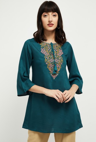MAX Embroidered A-line Tunic with Tasselled Tie-Up
