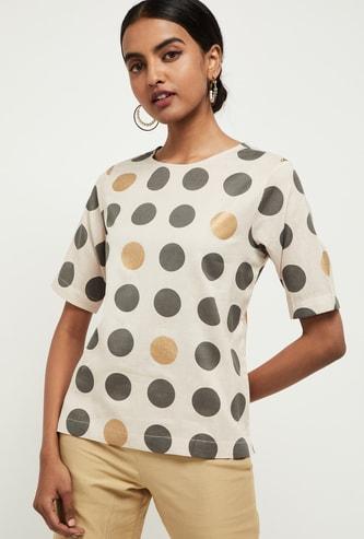 MAX Polka Dot Print Short Sleeves Top