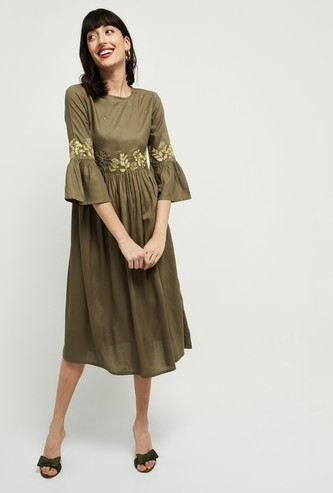 MAX Embroidered Midi Dress with Bell Sleeves