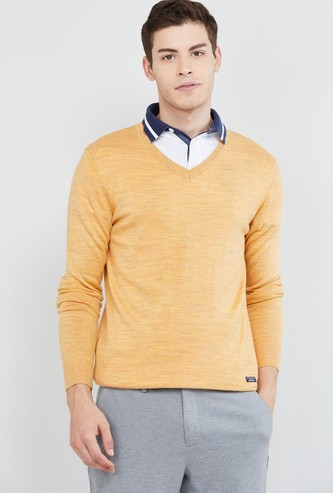 MAX Textured Full Sleeves V-neck Sweater