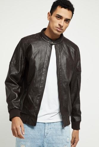 MAX Solid Full Sleeves Biker Jacket