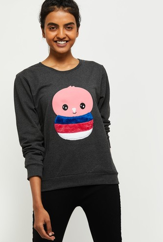 MAX Textured Sweatshirt with Applique