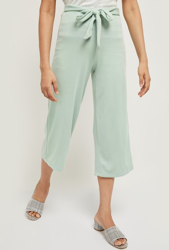 MAX Textured Cropped Pants with Sash Tie-Up