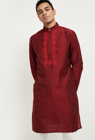 MAX Textured Full Sleeves Kurta