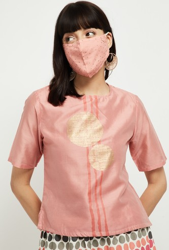 MAX Foil Print Round-Neck Top with Printed Mask