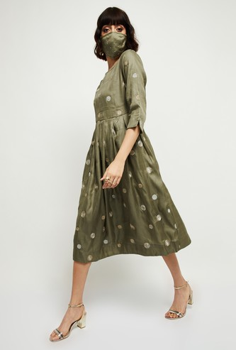 MAX Embroidered Three-quarter Sleeves A-line Dress with Mask