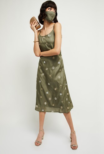 MAX Embroidered Midi Dress with Mask