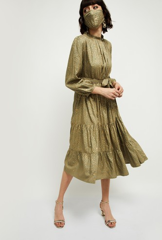 MAX Printed Full Sleeves Midi Dress with a Mask