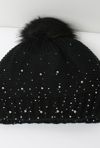 MAX Studded Patterned Knit Beanie with Tassels