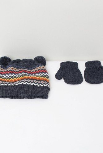 MAX Jacquard Knit Beanies with Mittens