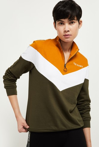 MAX Colorblocked High-Neck Sweatshirt