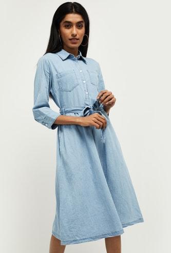 MAX Solid Three-Quarter Sleeves A-line Dress