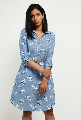 MAX Floral Print Full Sleeves Shirt Dress