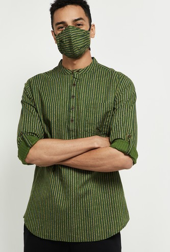 MAX Striped Full Sleeves Kurta with Mask