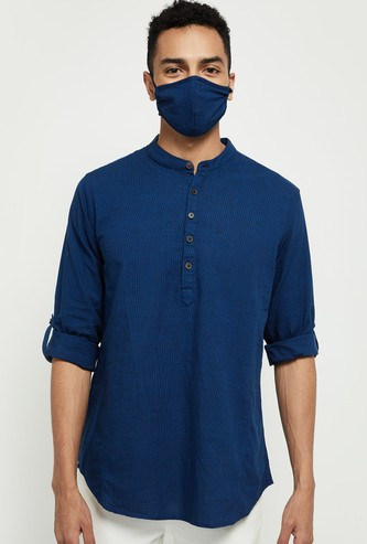 MAX Textured Full Sleeves Kurta with Mask
