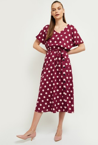 MAX Polka-Dot Print V-neck Midi Dress