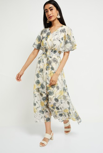 MAX Floral Print Empire-Line Dress with Surplice Neck