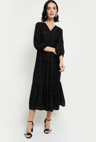 MAX Checked V-neck Midi Dress