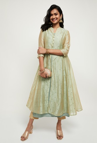MAX Embellished Straight Kurta with A-line Long-Line Jacket