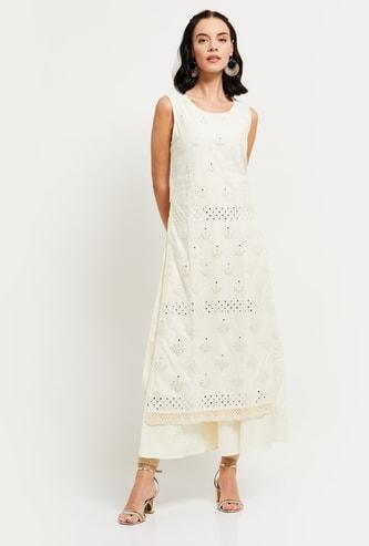 MAX Schiffli Embroidery Sleeveless Straight Kurta