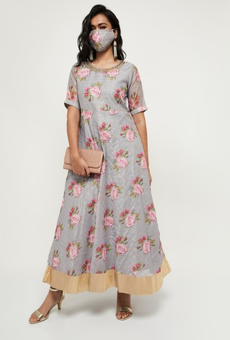 MAX Floral Print Maxi Dress with Mask