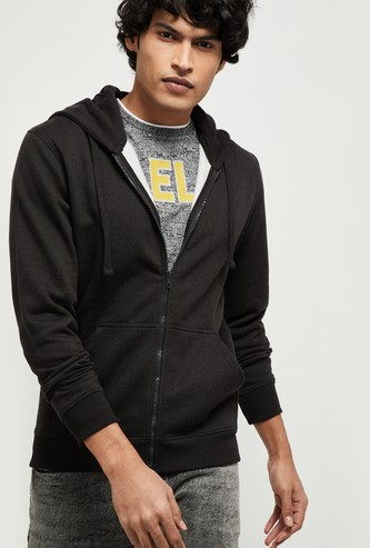 MAX Solid Full Sleeves Hooded Sweatshirt