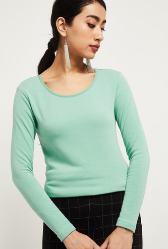 MAX Textured Round-Neck Sweatshirt