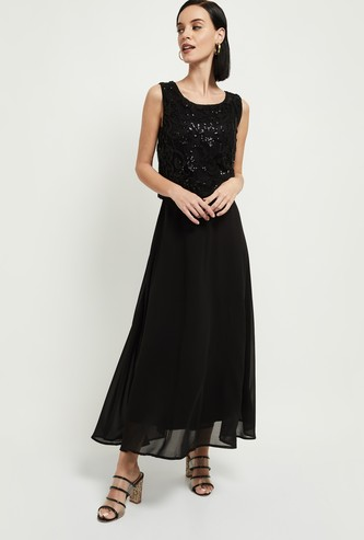 MAX Embroidered Maxi Dress with Sequin Embellishments