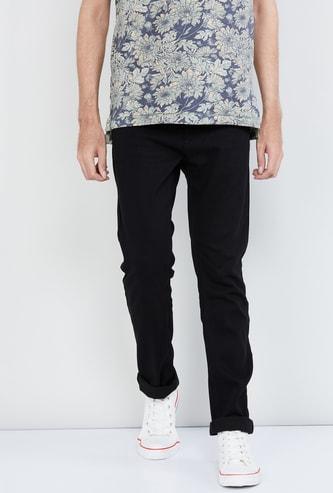 MAX Solid Slim Fit 5-Pocket Jeans
