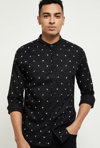 MAX Skull Print Slim Fit Casual Shirt