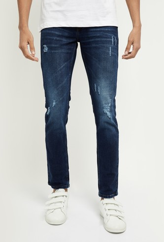 MAX Dark Washed Skinny Distressed Jeans