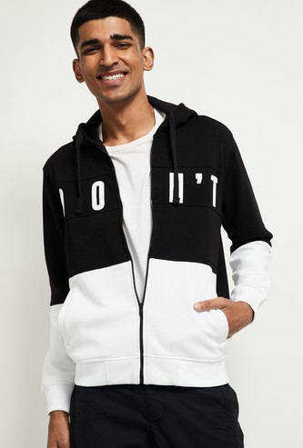 MAX Colourblock Full Sleeves Hooded Sweatshirt